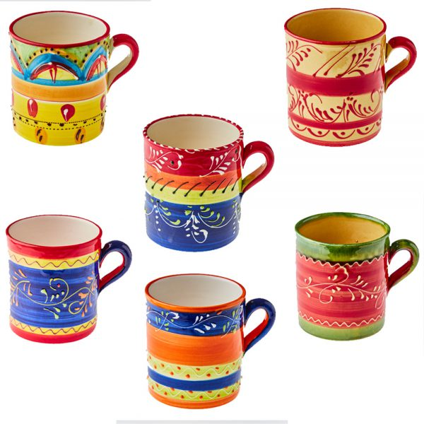 Buy Set of 6 Large mugs hand made and hand painted in Spanish pottery